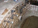 Süllyesztett víztükrű üvegmozaik burkolatú vízzáró vasbeton úszómedence építés