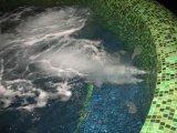 Süllyesztett víztükrű üvegmozaik burkolatú vasbeton masszázsmedence